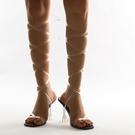歐美羅馬方頭夾趾水晶酒杯跟高跟鞋 透明繫帶繞帶女涼鞋