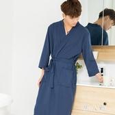 睡袍薄款夏季新款浴袍男晨袍長款夏外披睡衣男 QW9255『男人範』