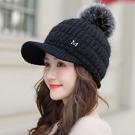 冬天帽子女韓版潮時尚百搭保暖冬季棒球毛線帽秋冬加絨針織鴨舌帽 小山好物