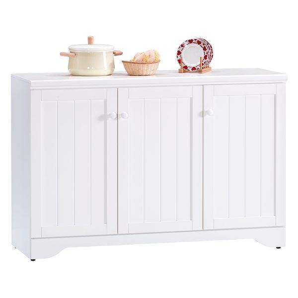 【森可家居】葛妮絲純白4尺餐櫃 8JX493-2 中島廚房櫃 碗盤收納 白色 英法式鄉村風