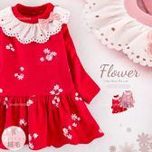 新色紅色-新年-絨毛領圍緹花洋裝(厚棉,內絨毛)禦寒保暖(260582)★水娃娃時尚童裝★