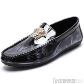 春夏季男士韓版皮鞋潮流懶人休閒鞋英倫漆皮豆豆鞋男社會小伙男鞋 印象家品