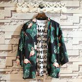 七分袖襯衫 日系外套七分袖和服五分袖襯衫 男開衫 情侶款寬鬆薄款中袖襯衣道袍