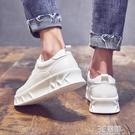 夏季2021新款小白鞋男韓版潮流百搭內增高白色板鞋豆豆低幫休閒鞋 3C優購