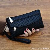 女錢包韓版百搭手拿包潮爆簡約手機包氣質格紋零錢包小包  LannaS