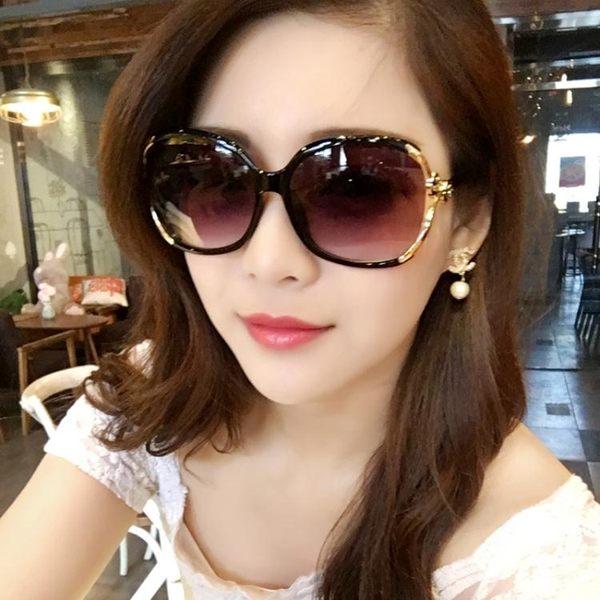 太陽鏡女潮明星款圓臉長臉優雅個性舒適前衛 墨鏡女方臉韓國 美芭