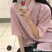 2020年新款夏季溫柔風甜美格子短袖上衣女學院風文藝寬鬆襯衫外套 蘇菲小店