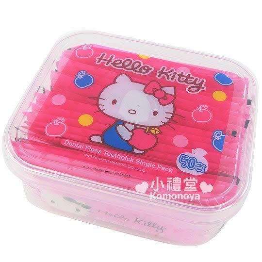 〔小禮堂〕Hello Kitty 紙包牙線棒《粉紅蘋果‧盒裝》50支入 4715664-10313