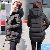 【V9882】shiny藍格子-冬緻風格.冬天加厚保暖中長款羽絨棉襖外套