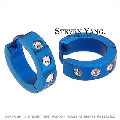 耳環 西德鋼飾「幸運星鑽」易扣式白 個性款 晶鑽鋯石*單邊單個價格*
