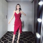 洋裝連身裙2019春夏新款裙子時尚小心機低胸顯瘦不規則開叉褶皺吊帶裙連身裙/米蘭世家