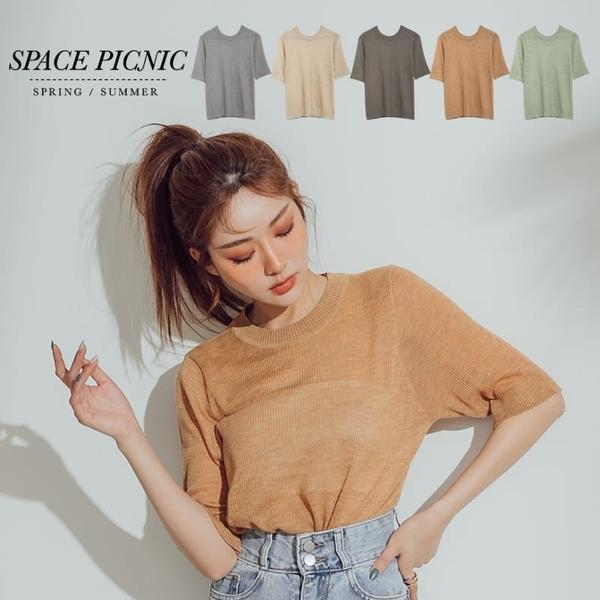 針織 短袖 Space Picnic|圓領微透五分袖上衣(現貨)【C20036029】