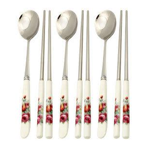 餐具陶瓷柄-不鏽鋼筷勺套裝