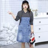 中大尺碼~條紋拼接牛仔裙長袖洋裝(XL~4XL)
