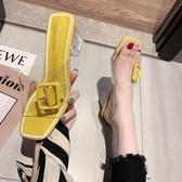 促銷全場九折 夏季新款拖鞋女外穿仙女風網紅透明時尚百搭方頭露趾粗跟女鞋