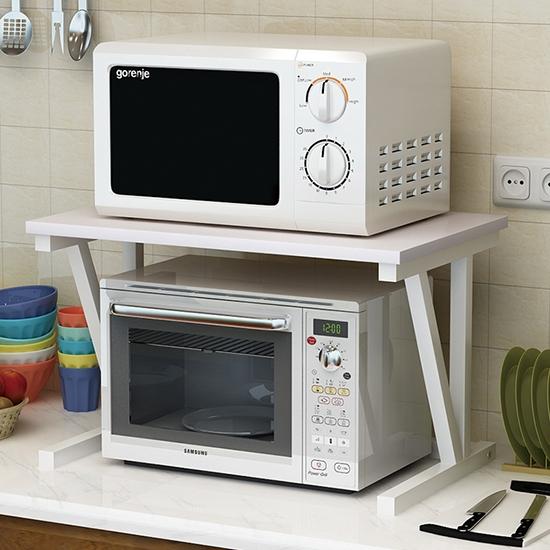 雙層廚房置物架 收納架 微波爐 調料架 烤箱架 木紋雙層 鋼木落地架 DIY組裝 【Z229】米菈生活館