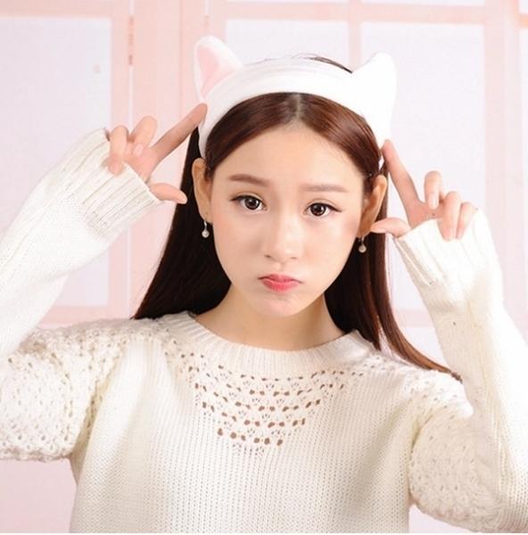 髮圈 頭飾 頭巾 洗臉 美容 髮巾 髮箍 瀏海 面膜 韓國可愛貓耳髮束帶【H001-1】慢思行