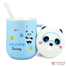 【堯峰陶瓷】卡通動物蓋杯附贈玻璃吸管 (藍綠粉黃) 單入 陶瓷咖啡花茶水杯 | 情侶親子對杯