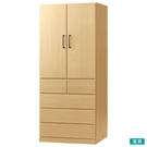 ●全開式門板與抽屜的兩種類收納。 ●單軌衣架設計,收納夾克輕鬆便利。 ●直角型握