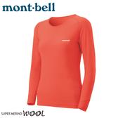 【Mont-Bell 日本 女 SPMW M.W.R-N 長袖羊毛中厚內衣《珊瑚橘》】1107574/羊毛長袖/內層衣/排汗衫