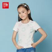 JJLKIDS 女童 微甜花兒網紗字母短袖上衣 T恤(薄荷綠)