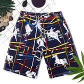 溫泉沙灘褲休閒舒適五分游泳褲加肥大碼男士寬鬆平角度假泳裝     韓小姐の衣櫥