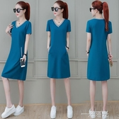 韓版短袖顯瘦t恤衫2020年夏季女裝新款V領中長款連帽T恤拼色洋裝潮 一米陽光