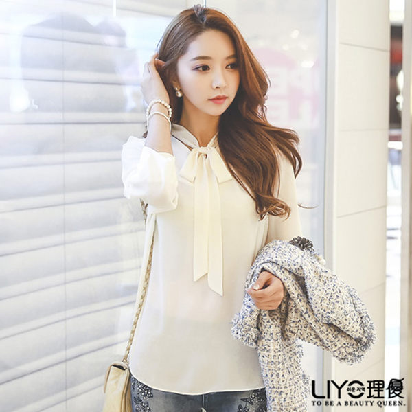 上衣綁帶女白色雪紡OL長襯衫LIYO理優E635011