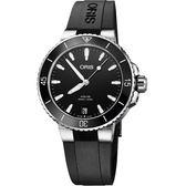 Oris豪利時 Aquis 時間之海潛水300米機械女錶-黑/36.5mm 0173377314154-0741864FC