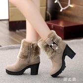 毛毛雪地靴短筒翻毛短靴女2019新款冬季女鞋高跟粗跟百搭加絨裸靴 KV4511 【野之旅】