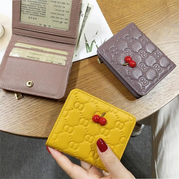 新款真皮錢包女短款薄學生韓版可愛多卡位卡包女士小款零錢包