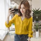 雪紡襯衫女韓版2020年春秋設計感小眾上衣七分袖中袖蕾絲打底襯衣「時尚彩紅屋」