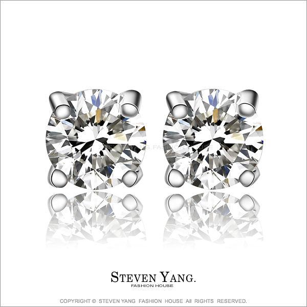 925純銀耳環STEVEN YANG 純銀飾「奢華」耳針式 八心八箭鑽石夾鑲耳環*一對價格*