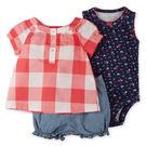 套裝 Carter's / Carter / 卡特 短袖上衣+包屁衣+短褲 套裝3件組 - 紅白格紋上衣藍碎花 121G385