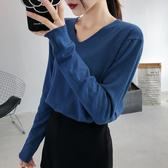 2019秋冬季女裝V領寬鬆毛衣女外穿洋氣針織打底衫內搭長袖慵懶風