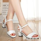 厚底楔形涼鞋 夏季粗跟一字扣帶露趾高跟女士涼鞋百搭小碼羅馬中跟女鞋 『鹿角巷』