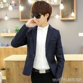 春季款小西服男版夏季韓版修身型青年薄款外套潮職業商務休閒西裝 美芭