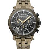 【台南 時代鐘錶 POLICE】義式潮流 Taman三眼日期腕錶 15920JSQG-61M 銅/黑 48mm