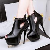 防水臺中空超高跟鞋子 細跟魚口鞋 性感顯瘦鞋《小師妹》sm1423