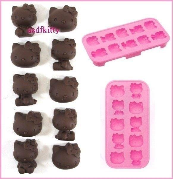 asdfkitty可愛家☆KITTY10連矽膠模型 製冰盒-做巧克力-手工皂-冰塊-果凍.蛋糕.日本正版商品