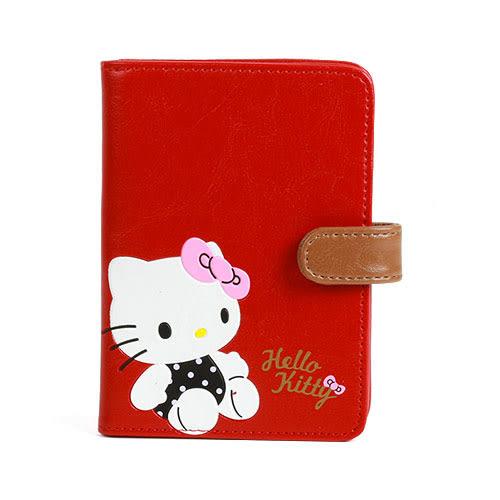 《Sanrio》HELLO KITTY可愛姿態壓印PU皮革護照夾_RD00512
