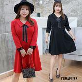 (現貨+預購 FUWAFUWA)-加大尺碼蝴蝶結彈力小禮服長袖洋裝
