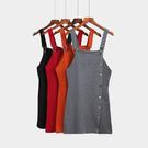 88柑仔店-秋季女裝復古百搭針織連衣裙女修身A字短裙單排扣顯瘦學生背帶裙 (A0294)