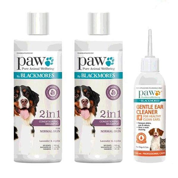 [COSCO代購] C128084 Blackmores Paw 澳佳寶 寵物清潔組 滋潤洗毛精 500毫升 X 2瓶 + 溫和洗耳液 120毫升 X 1瓶