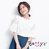 betty's貝蒂思 優雅花邊蕾絲鏤空上衣(共二色)