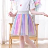 女童短裙 半身裙夏季女寶寶公主短裙奇妙仙子道具蓬蓬紗裙彩虹半裙兒童【快速出貨】