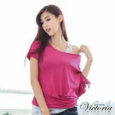 Victoria 不對稱抽皺印花TEE-女-紫色-V8523263