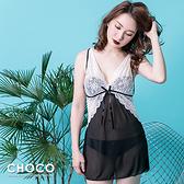 夜迷朧.輕透連身美背睡衣(白色) Free size Choco Shop