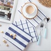 【BlueCat】拍攝背景 日式淡藍格子線條西餐餐巾 餐墊 桌布 桌墊