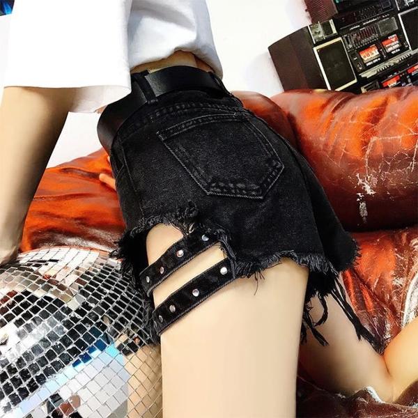 短褲 牛仔短褲女夏大碼高腰韓版寬松顯瘦性感柳釘破洞毛邊黑色闊腿熱褲 全館免運